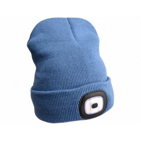 Čepice s čelovkou 4x45lm, USB nabíjení, modrá, univerzální velikost