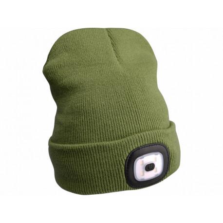 Čepice s čelovkou 4x45lm, USB nabíjení, zelená, univerzální velikost