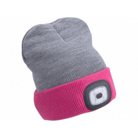 Čepice s čelovkou 4x45lm, USB nabíjení, světle šedá/růžová, oboustranná, univerzální velikost