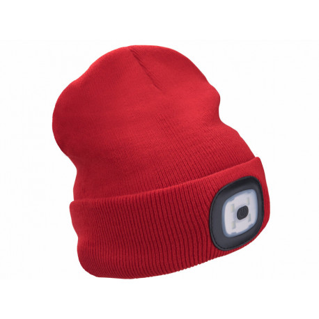 Čepice s čelovkou 4x45lm, USB nabíjení, červená, univerzální velikost