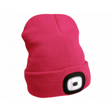 Čepice s čelovkou 4x45lm, USB nabíjení, růžová, univerzální velikost
